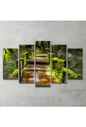 Plustablo Eski Orman Yolu 5 Parça Kanvas Tablo