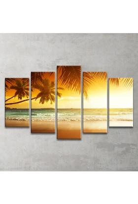Plustablo Tropikal Deniz Manzaralı 5 Parça Kanvas Tablo
