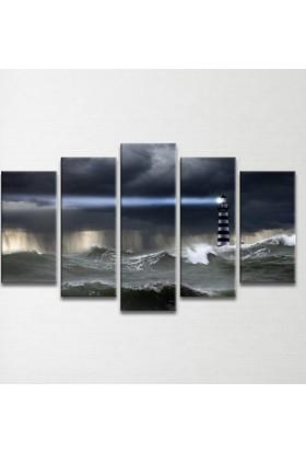 Plustablo Deniz Feneri 5 Parça Kanvas Tablo