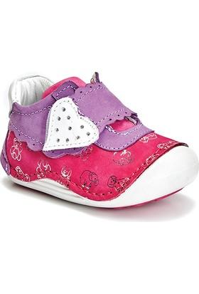 Vicco Kalpli Cırtlı İlk Adım Deri Ayakkabı Fuşya
