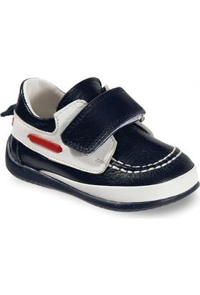 Vicco Cırtlı İlk Adım Deri Ayakkabı Lacivert