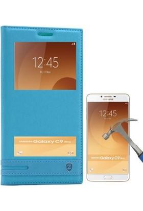 Teleplus Samsung Galaxy C9 Pro Çift Pencereli Kılıf + Cam Ekran Koruyucu