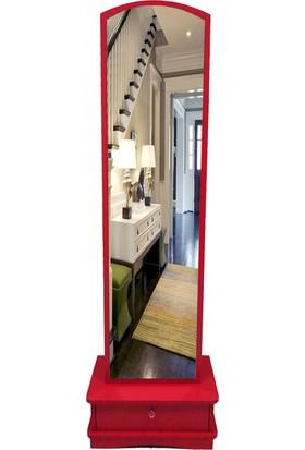 First Mobilya Lale Çekmeceli Boy Aynası / Kırmızı