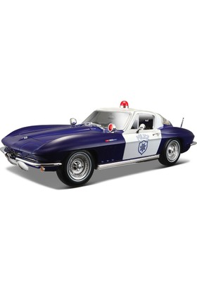 Maisto 1:18 1965 Chevrolet Corvette Police Model Araba S/E