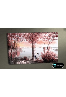 Evmanya Deco Pembe Kayık Ve Ağaçlar Kanvas Tablo 45x65 cm