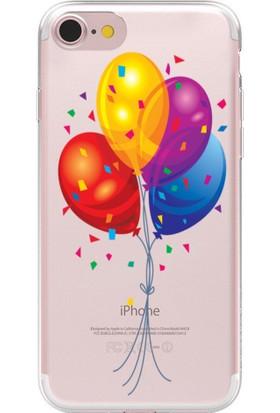 Remeto Apple iPhone 7 Renkli Balonlar ve Sim Resimli Şeffaf Silikon Kılıf