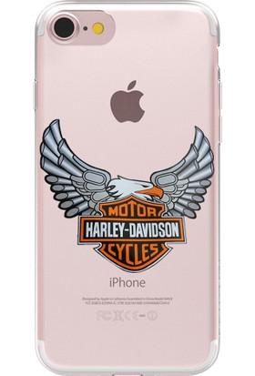 Remeto Apple iPhone 7 Harley Davidson Logo Resimli Şeffaf Silikon Kılıf