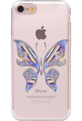 Remeto Apple iPhone 7 Plus Kelebek Resimli Şeffaf Silikon Kılıf