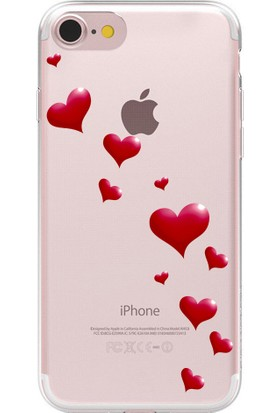 Remeto Apple iPhone 6 Kalp Yağmuru Resimli Şeffaf Silikon Kılıf