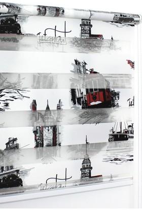 Buperde İstanbul Siyah Kırmızı Baskılı Zebra Perde