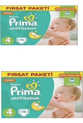 Prima Bebek Bezi Aktif Bebek Hiper Ekonomik Maxi 4 Beden 148 Adet