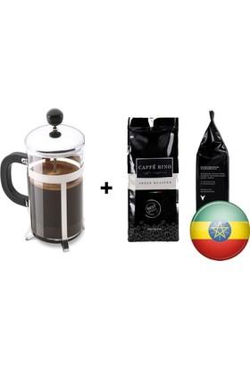 Caffe Rino Etiyopya Yöresel Filtre Kahve 250 gr + French Press 350 ml