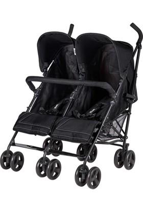 Prego 2074 Monart İkiz Bebek Arabası Siyah