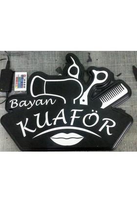 "Projeneon Bayan kuaför Led Neon Tabela ""KUMANDALI 16 RENK"" 54x42cm"
