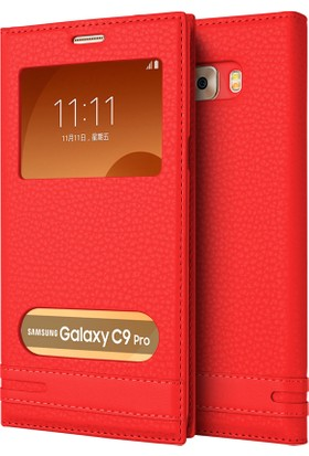 Microsonic Samsung Galaxy C9 Pro Kılıf Dual View Gizli Mıknatıslı