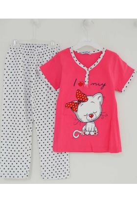 Mini Okyanus 4067 Kedi Baskılı Pijama Takımı