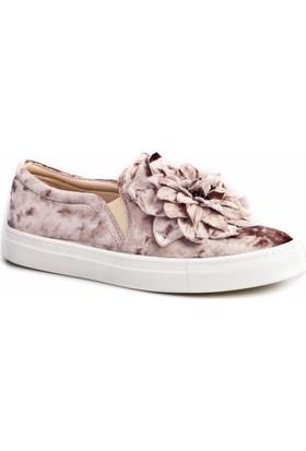 Cabani Çiçek Kabartmalı Sneaker Günlük Kadın Ayakkabı Bej Kadife