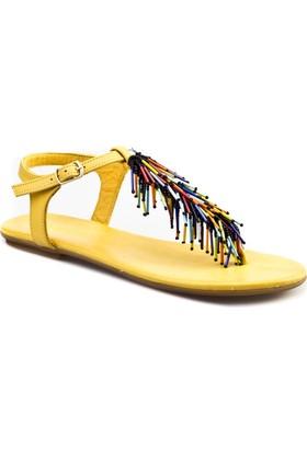 Cabani Püskülllü Günlük Kadın Sandalet Deri