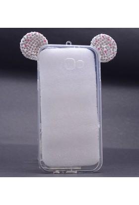 Case 4U Samsung Galaxy A5 2017 Mickey Mouse Tavşan Kulaklı Taşlı Silikon Kılıf Beyaz