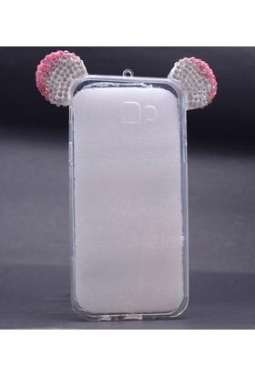 Case 4U Samsung Galaxy A7 2017 Mickey Mouse Tavşan Kulaklı Taşlı Silikon Kılıf Pembe/Beyaz
