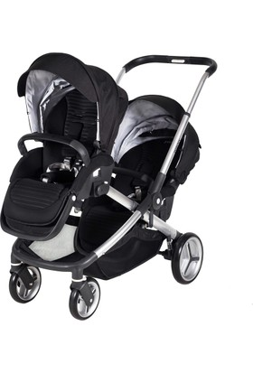 Prego 2072 Ibiza İkiz Bebek Arabası - Siyah
