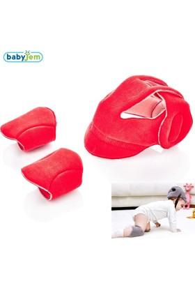 Baby Jem Kafa Koruyucu Kask & Emekleme Dizliği Kırmızı