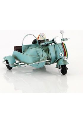 Mnk El Yapımı Eskitilmiş Metal Vintage Vespa Motorsiklet Sepetli Vespa Motor 8018