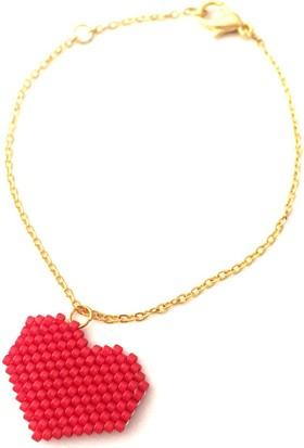 Barbiel Design Kırmızı Renk Kalp Miyuki Bileklik