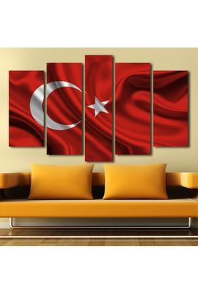 Kanvashome Türk Bayrağı 5 Parçalı Kanvas Tablo