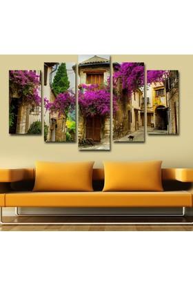 Kanvashome Taş Ev Mor Çiçekler 5 Parçalı Mdf Tablo