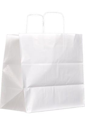 Menteşoğlu Kağıtçılık Beyaz Kraft Kağıt Poşet 33 x 33 x 20 cm 50 adet