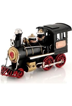 Mnk Metal Lokomotif Tren El Yapımı Eskitilmiş Görünümlü Vintage Train 5878