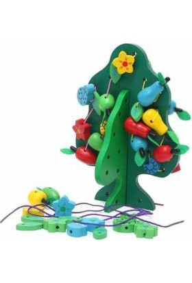 DS Ahşap Boncuk Oyunu - İple Ağaca Meyve Dizme