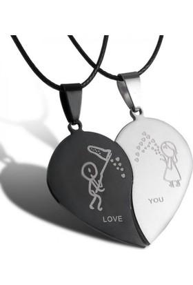 Modakedi Kalp Sevgiliye Çift Kolye