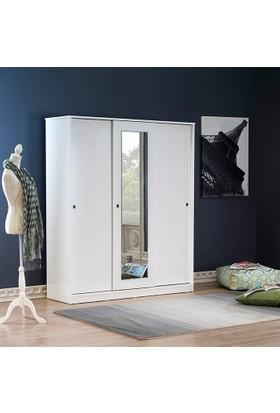 Gadahome 608 Beyaz Sürgü Kapaklı Aynalı Elbise Dolabı