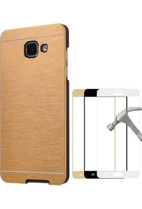 Teleplus Samsung Galaxy A7 2017 Metal Kapak Kılıf + Full Kapatan Cam Ekran Koruyucu