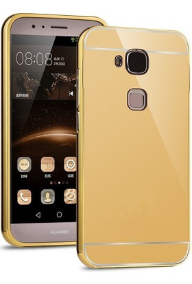 Case 4U Huawei G8 Kılıf Aynalı Metal Bumper Altın + Cam Ekran Koruyucu