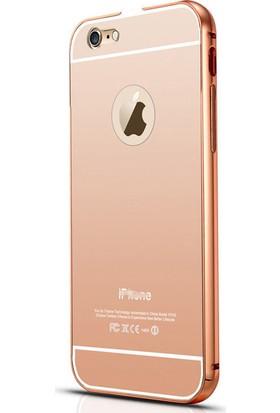 Alaca Apple iPhone 4 Kılıf Aynalı Metal Bumper + Cam