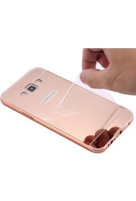 Alaca Samsung Galaxy A8 Kılıf Aynalı Metal Bumper + Cam