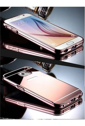 Alaca Samsung Galaxy A7 2016 Kılıf Aynalı Metal Bumper Cerceve + Cam