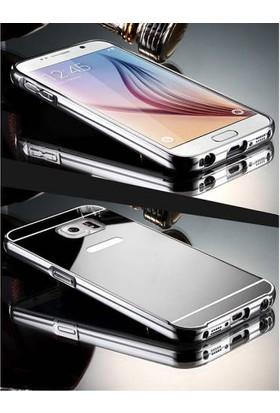 Alaca Samsung Galaxy A5 2016 Kılıf Aynalı Metal Bumper Cerceve + Cam