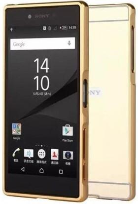 Alaca Sony Xperia M5 Kılıf Aynalı Metal Bumper + Cam