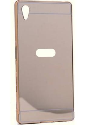 Alaca Sony Xperia Z5 Premium Kılıf Aynalı Metal Bumper Cerceve + Cam