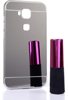 Alaca Huawei G8 Kılıf Aynalı Metal Bumper Cerceve