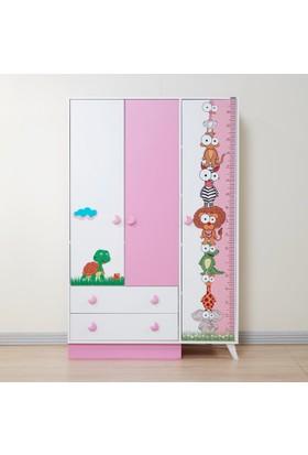 Dessenti Miray Bebek Odası 3 Kapaklı Gardrop Beyaz-Pembe