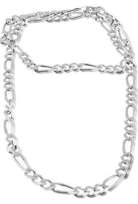 Silver Plus 3+1 Figaro Boyunluk Gümüş Zincir (55 Cm)