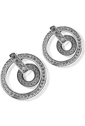 Silver Plus Zirkon Taşlı Çift Halka Bayan Gümüş Küpe