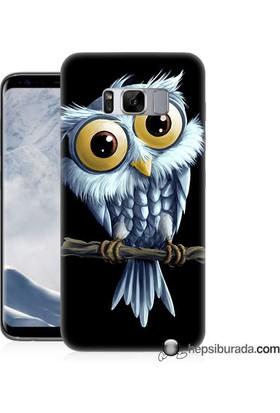 Teknomeg Samsung Galaxy S8 Plus Kapak Kılıf Beyaz Baykuş Baskılı Silikon