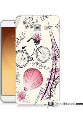 Teknomeg Samsung Galaxy C9 Pro Kapak Kılıf Paris Baskılı Silikon
