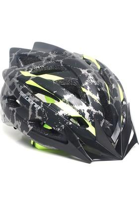 Sedona Mv 39 Kamuflaj Desenli Bisiklet Kaskı Siyah Yeşil
